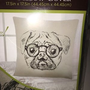 Other - Decorative Pillow Cover Case Dog w/ Glasses Tan